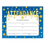 Perfect Attendance Stars Design Gold Foil-Stamped Certificate