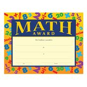 Math Award Gold Foil-Stamped Certificates