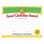 Good Character Award Gold Foil-Stamped Certificates