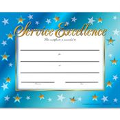 Service Excellence Gold-Foil Stamped Certificates