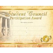 Student Council Participation Gold-Foil Stamped Certificates