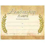 Leadership Award Gold Foil-Stamped Certificates