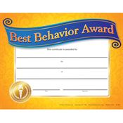Best Behavior Award Gold Foil-Stamped Certificate