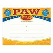 Paw Award Gold Foil-Stamped Certificates