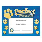 Perfect Attendance Paw Design Gold Foil-Stamped Certificate