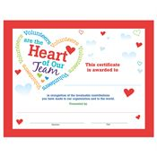 Volunteers Are The Heart Of Our Team Foil-Stamped Recognition Certificate