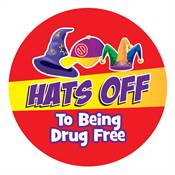 Hats Off To Being Drug Free Sticker