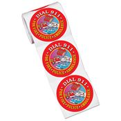 Dial 9-1-1 Stickers-On-A-Roll