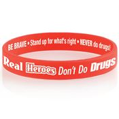 Real Heroes Don't Do Drugs 2-Sided Silicone Awareness Bracelet