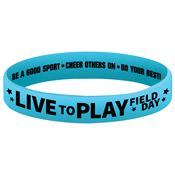 Live To Play Field Day Glow Blue 2-Sided Silicone Bracelets