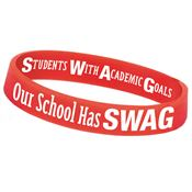 Our School Has SWAG! (Students With Academic Goals) Two-Sided Silicone Awareness Bracelet