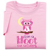 Pink Give A Hoot For A Cure Women's Cut Breast Cancer Awareness T-Shirt