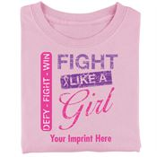 Pink Defy-Fight-Win Fight Like A Girl Pink Women's Cut T-Shirt - Personalization Available