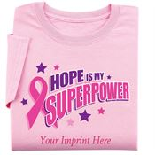 Pink Hope Is My SUPERPOWER Women's Cut Awareness T-Shirt - Personalization Available