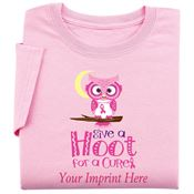Pink Give A Hoot For A Cure Women's Cut Awareness T-Shirt - Personalization Available