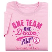 One Team One Dream Let's FInd A Cure Women's Cut T-Shirt - Personalization Available
