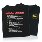10 Rules of Safety 2-Sided T-Shirt - Personalization Available