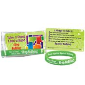 Take A Stand Lend A Hand Stop Bullying 2-Sided Silicone Bracelet With Pledge Card