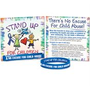 No Excuse For Child Abuse Awareness Silicone Bracelet With Prevention Tips Card