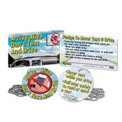 "Arrive Alive: Don't Text & Drive Tag With 4"" Chain & Pledge Card"