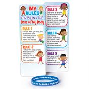 Child Abuse Prevention Awareness Bookmark with Silicone Bracelet