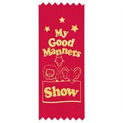 My Good Manners Show Self-Stick Red Satin Gold Foil-Stamped Ribbons