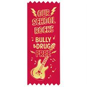 Our School Rocks Bully & Drug Free Self-Stick Satin Gold Foil-Stamped Red Ribbons (100 Pack)