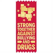 Strong Together Against Bullying And Drugs Self-Stick Red Satin Gold Foil-Stamped Ribbon