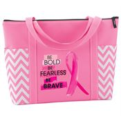 Be Bold, Be Fearless, Be Brave Pink Chevron Tote