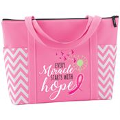 Every Miracle Starts With Hope Pink Chevron Tote