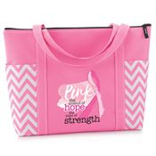 Pink: The Symbol Of Hope, The Color Of Strength Pink Chevron Tote