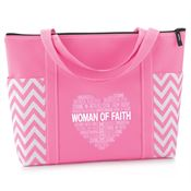 Woman Of Faith Chevron Tote Bag