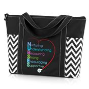 Nurturing Understanding Reassuring Strong Encouraging Supportive Chevron Tote