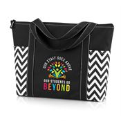Our Staff Goes Above, Our Students Go Beyond Black Chevron Tote