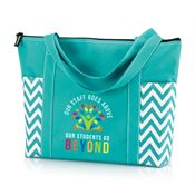 Our Staff Goes Above, Our Students Go Beyond Turquoise Chevron Tote