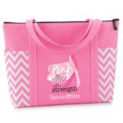 Pink: The Symbol of Hope, The Color Of Strength Pink Chevron Tote With Personalization