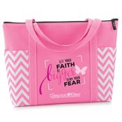 Let Your Faith Be Bigger Than Your Fear Pink Chevron Tote With Personalization