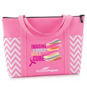 Imagine A World With A Cure Pink Chevron Tote With Personalization