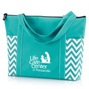 Turquoise Chevron Tote- Personalization Available