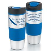 Blessed Is The Father Who Walks With God Stainless Steel Color Grip Travel Tumbler