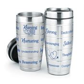 Nursing: Healing, Sharing, Always Caring Stainless Steel Message Tumbler