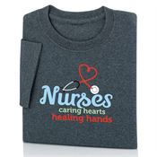 Nurses: Caring Hearts Healing Hands Adult Short-Sleeve T-Shirt