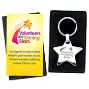Volunteers Are Shining Stars Metal Star Key Tag