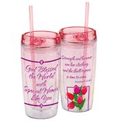 God Blessed The World With Special Women Like You Double-Wall Acrylic Tumbler With Straw