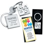 Volunteers: An Essential Part Of Our Team Metal Puzzle Key Tag with Keepsake Card