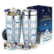 Thanks Stainless Steel Holiday Message Tumbler & Chocolates