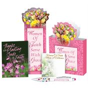 Women Of Faith Serve With Grace Die-Cut Paper Tote Gift Set