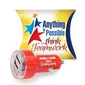 Anything Is Possible Think Teamwork Dual USB Car Charger With Pillow Box