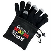 Cold Hands Warm Hearts Touchscreen Gloves With Microfiber Pouch & Holiday Gift Card