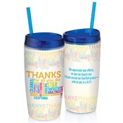 Thanks For All You Do (Word Cloud) Double-Wall Acrylic Tumbler With Straw
